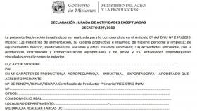Declaración jurada de actividades exceptuadas para la circulación de la producción agropecuaria